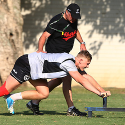 DURBAN, SOUTH AFRICA, November 26 2015 - Gary Gold (Sharks Director of Rugby)  with Daniel Du Preez during The Cell C Sharks Pre Season training for the 2016 Super Rugby Season at Growthpoint Kings Park in Durban, South Africa. (Photo by Steve Haag)<br /> images for social media must have consent from Steve Haag