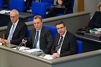 DEU, Deutschland, Germany, Berlin, 31.01.2019: Bundestagsvizepräsident Thomas Oppermann (SPD) und Volker Münz (R), Alternative für Deutschland (AfD), während einer Plenarsitzung im Deutschen Bundestag.