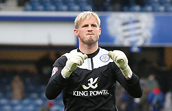 Leicester City's Kasper Schmeichel shows his delight after a hard fought victory - Photo mandatory by-line: Robin White/JMP - Tel: Mobile: 07966 386802 21/12/2013 - SPORT - FOOTBALL - Loftus Road - London - Queens Park Rangers v Leicester City - Sky Bet Championship