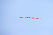 Aeroplane pulls this banner over the ground asking if Liverpool Manager Jurgen Klopp is ready for the Beermunch during the Premier League match between Liverpool and Newcastle United at Anfield, Liverpool, England on 14 September 2019.