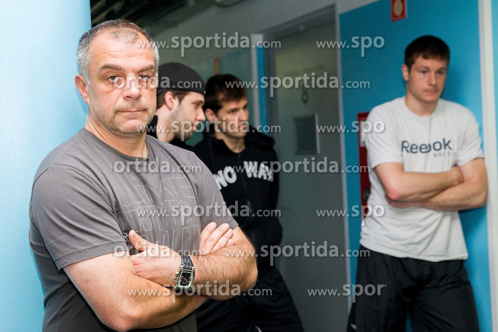 Matjaz Kopitar, Rok Ticar, Ales Kranjc and Jan Urbas during Media day of Slovenian Ice Hockey National Team before World Championships Group A in Sweden, Stockholm, on April 29, 2013, in Ice arena Tabor, Maribor, Slovenia. (Photo By Vid Ponikvar / Sportida.com)