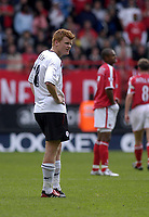 Photo. Glyn Thomas<br />Charlton Athletc v Liverpool. Barclaycard Premiership.<br />The Valley, Charlton. 28/09/2003.<br />John Arne Riise (L) cannot believe his Liverpool side has just lost 3-2 away to Charlton.