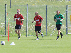 15.07.2013, Walchsee, AUT, FC Augsburg, Trainingslager, im Bild Lauftraining fuer die Rekonvaleszenten Matthias FETSCH (FC Augsburg #21, li.) und Sascha M&radic;&ntilde;LDERS, MOELDERS (FC Augsburg #33) mit Tobias ZELLNER (Co-Trainer FC Augsburg), // during a trainings session of German 1st Bundesliga club FC Augsburg at their training camp in Walchsee, Austria on 2013/07/15. EXPA Pictures &copy; 2013, PhotoCredit: EXPA/ Eibner/ Klaus Rainer Krieger<br /> <br /> ***** ATTENTION - OUT OF GER *****