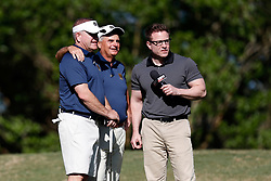 Brian Kelly and Jimmy Dunne are interviewed by ESPN during the Chick-fil-A Peach Bowl Challenge at the Oconee Golf Course at Reynolds Plantation, Sunday, May 1, 2018, in Greensboro, Georgia. (Paul Abell via Abell Images for Chick-fil-A Peach Bowl Challenge)