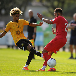 TELFORD COPYRIGHT MIKE SHERIDAN Devarn Green of Southport and Brendon Daniels of Telford battle for the ball during the National League North fixture between  Southport and AFC Telford United at Haig Avenue on Saturday, August 24, 2019<br /> <br /> Picture credit: Mike Sheridan<br /> <br /> MS201920-005