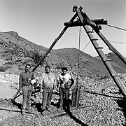 Jun 1, 1999 - La Serena, Chile - Chilean gold miners standing at the top of shaft after working underground near La Serena in Andacollo, Chile.<br /> (Credit Image: &copy; Louie Palu/ZUMA Press)