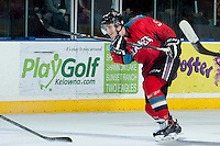 KELOWNA, CANADA - MARCH 15: Dalton Yorke #5 of the Kelowna Rockets takes a shot on net against the Vancouver Giants on March 15, 2014 at Prospera Place in Kelowna, British Columbia, Canada.   (Photo by Marissa Baecker/Getty Images)  *** Local Caption *** Dalton Yorke;
