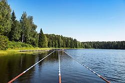 Swimming lane marker, forest. Open-air pool. Lake Kurgjärv in Estonia.