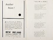 All Ireland Senior Hurling Championship Final, .Brochures, .23.09.1956, 09.23.1956, 23rd September 1956,.Wexford 2-14, Cork 2-8,.Minor Kilkenny v Tipperary, .Senior Cork v Wexford,.Croke Park,..Advertisements, New Ireland Assurance Company Ltd, Another Point!,..Songs, Cut Me A Hurl,