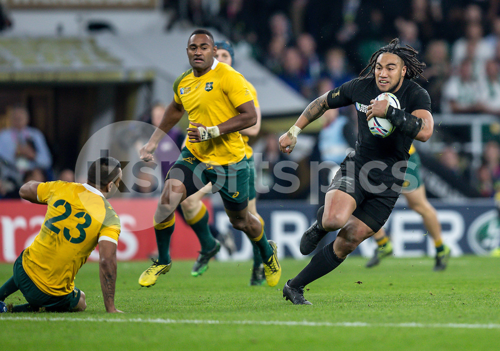 Ma'a Nonu of New Zealand drives home to score his try during the Rugby World Cup Final match between New Zealand and Australia played at Twickenham Stadium, London on the 31st of October 2015. Photo by Liam McAvoy