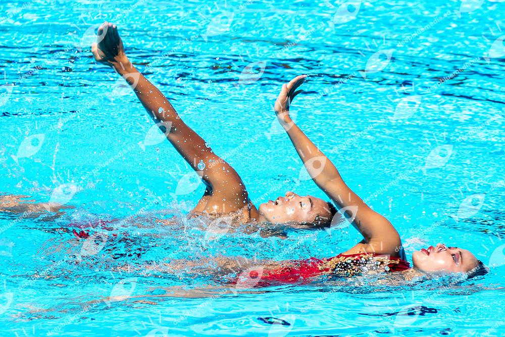 ABE Atsushi ADACHI Yumi JPN <br /> Duet Technical Final<br /> Synchronised swimming , Synchro<br /> 17/07/2017 <br /> XVII FINA World Championships Aquatics<br /> City Park - Varosliget Lake<br /> Budapest Hungary <br /> Photo Andrea Staccioli/Deepbluemedia/Insidefoto