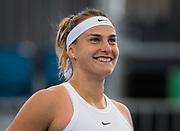 Aryna Sabalenka of Belarus smiles after her victory during the quarter-finals at the 2020 Adelaide International WTA Premier tennis tournament agasinst Simona Halep of Romania. Photo Rob Prange / Spain ProSportsImages / DPPI / ProSportsImages / DPPI