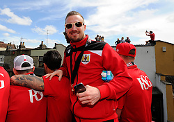 Bristol City's Wade Elliott on the top deck of the open top bus tour- Photo mandatory by-line: Joe Meredith/JMP - Mobile: 07966 386802 - 04/05/2015 - SPORT - Football - Bristol -  - Bristol City Celebration Tour