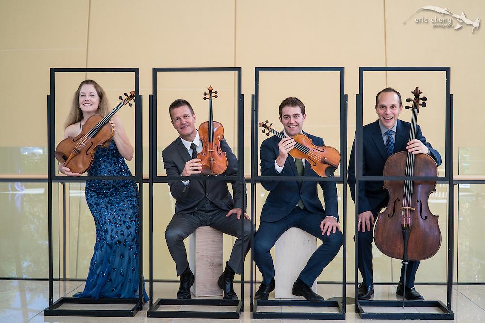 "Portrait: St. Lawrence String Quartet (SLSQ), Bing Concert Hall, Stanford, California. Credit ""Eric Cheng / echengphoto.com""."