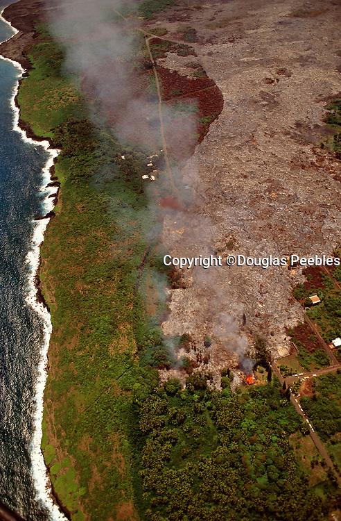 Lava flowing into Kalapana, Kilauea Volcano, Island of Hawaii