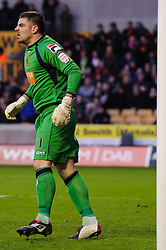 Blackpool Goalkeeper Matthew Gilks (SCO) looks on during the second half of the match - Photo mandatory by-line: Rogan Thomson/JMP - Tel: Mobile: 07966 386802 26/01/2013 - SPORT - FOOTBALL - Molineux Stadium - Wolverhampton. Wolverhampton Wonderers v Blackpool - npower Championship.