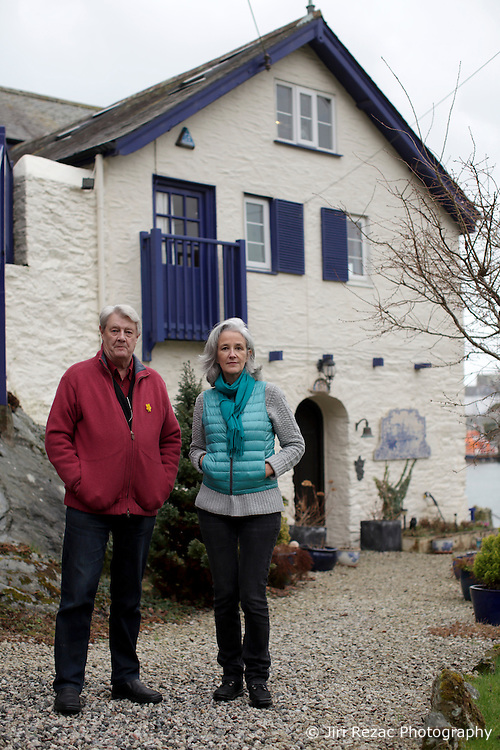 UK ENGLAND FOWEY 19FEB15 - Kits Browing, son of Daphne du Maurier and Tatiana De Rosnay (R) at his house Ferryside in Fowey, Cornwall, England. <br /> <br /> Fowey, a small fishing and harbour village was the living place of famous English writer Daphne Du Maurier and many of her novels are based here.<br /> <br /> jre/Photo by Jiri Rezac<br /> <br /> &copy; Jiri Rezac 2015