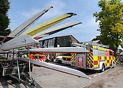 © licensed to London News Pictures. MARLOW, UK.  03/08/11. A boat (foreground) with Steve Redgraves name on. Marlow Rowing Club has been badly damaged by fire today (03 August 2011). Boats with an estimated value of 100,000 pounds have been damaged. Steve Redgrave, Olympic Rower, who trained at the club and is from Marlow said his daughters boat is believed to be inside.  Mandatory Credit Stephen Simpson/LNP