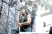 Sevendust performing at the Carnival of Madness at the Time Warner Cable Amphitheater in Cleveland, OH on August 9, 2010