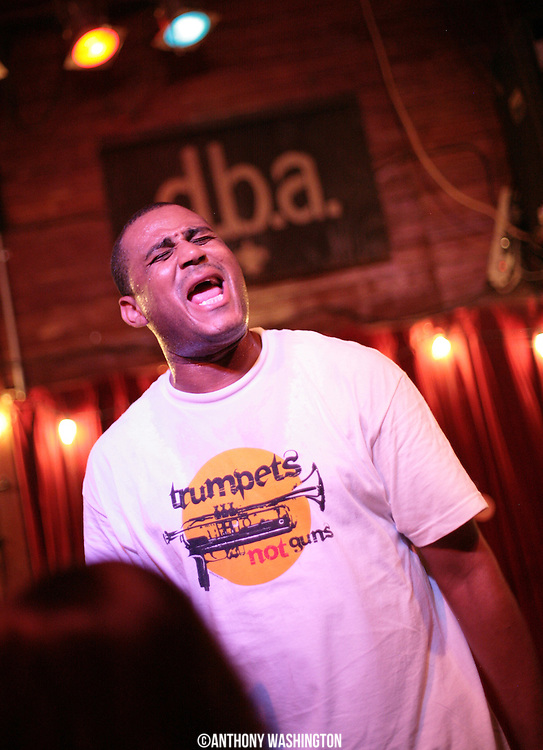 Glen David Andrews performs at the d.b.a bar in New Orleans, LA on Monday, June 6, 2011.