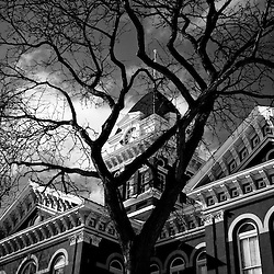 Lake County Courthouse in Crown Point Indiana black and white photo. The Lake County Courthouse was built in 1878 and is nicknamed The Grand Old Lady. The courthouse architecture is Romanesque and Georgian. Today it's used for events and has a ballroom and restaurants.