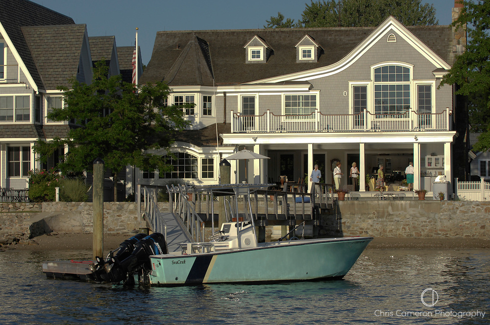 House with its own jetty on the banks of Five mile River. Long Island Sound, Connecticut. USA