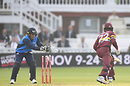 Andre Fletcher of West Indies is stumped by Luke Ronchi (New Zealand) of ICC World XI  off the bowling of Shahid Afridi (captain) (Pakistan)during the International Twenty/20 match at Lord's, London<br /> Picture by Simon Dael/Focus Images Ltd 07866 555979<br /> 31/05/2018
