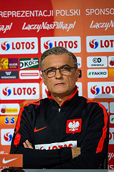 25.03.2016, Stadium Municipal, Wroclaw, POL, Pressekonferenz Fußballnationalmannschaft Polen, im Bild Adam Nawalka // during a press conference of Polish national football team before tomorrow friendly match between Poland and Finland at the Stadium Municipal in Wroclaw, Poland on 2016/03/25. EXPA Pictures © 2016, PhotoCredit: EXPA/ Newspix/ Sebastian Borowski<br /> <br /> *****ATTENTION - for AUT, SLO, CRO, SRB, BIH, MAZ, TUR, SUI, SWE only*****