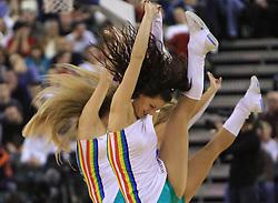 Cheerleaders Zmajcice at basketball match of 3rd Round of Euroleague between KK Union Olimpija (SLO) and Lottomatica Roma (ITA), in Arena Tivoli, Ljubljana, Slovenia, on November 6, 2008. Lottomatica  won the match 78:67.