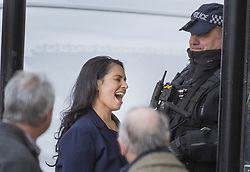 © Licensed to London News Pictures. 25/02/2020. London, UK. Home Secretary Priti Patel smiles as she arrives at Parliament ahead of Prime Minister's questions. Photo credit: Peter Macdiarmid/LNP