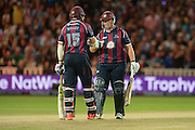 David Willey and Richard Levi during the NatWest T20 Blast final match between Northants Steelbacks and Lancashire Lightning at Edgbaston, Birmingham, United Kingdom on 29 August 2015. Photo by David Vokes.