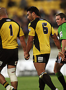 Victor Vito and John Schwalger walk back after Vito's try.<br /> Super 14 rugby union match, Hurricanes v Brumbies, Westpac Stadium, Wellington, New Zealand. Saturday 25 April 2009. Photo: Dave Lintott/PHOTOSPORT
