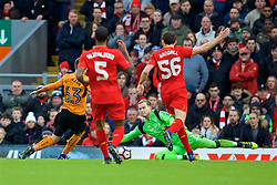 LIVERPOOL, ENGLAND - Saturday, January 28, 2017: Wolverhampton Wanderers' Andreas Weimann skips past Liverpool's goalkeeper Loris Karius to score the second goal during the FA Cup 4th Round match at Anfield. (Pic by David Rawcliffe/Propaganda)