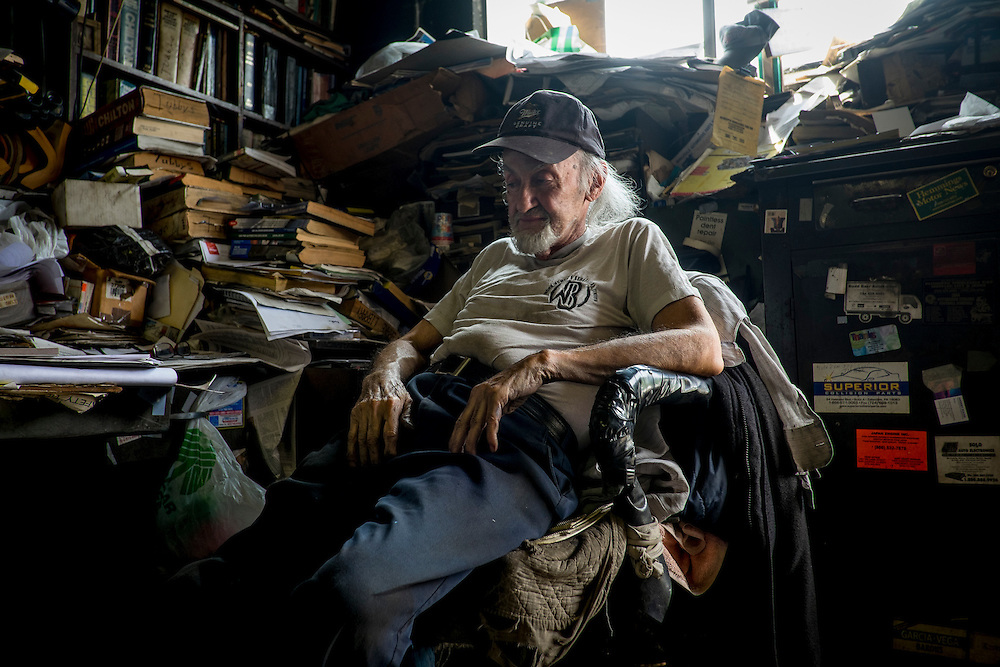 "Angelo ""Tubby"" Galzarano, 79, in his repair shop, Tubby's Auto Service, in West Aliquippa, PA."