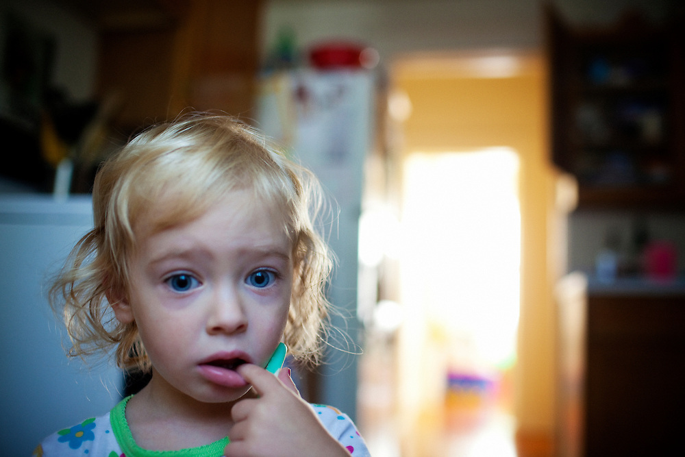 Madelyn Avery Eich, 2, groggily wakes up in the morning in Norfolk, Virginia on Thursday, July 22, 2010.