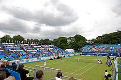LIVERPOOL, ENGLAND - Friday, June 17, 2011: Martina Hingis (SUI) takes on Martina Navratilova (USA) during day two of the Liverpool International Tennis Tournament at Calderstones Park. (Pic by David Rawcliffe/Propaganda)