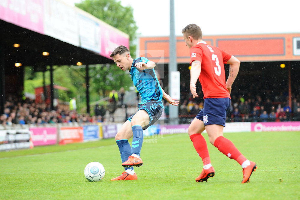 TELFORD COPYRIGHT MIKE SHERIDAN 27/4/2019 - Ryan Barnett holds off David Ferguson of York during the Vanarama Conference North fixture between AFC Telford United and York City at Bootham Crescent