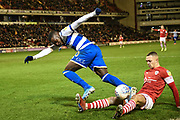 Bright Osayi-Samuel of Queens Park Rangers is brought down in the box during the EFL Sky Bet Championship match between Barnsley and Queens Park Rangers at Oakwell, Barnsley, England on 14 December 2019.