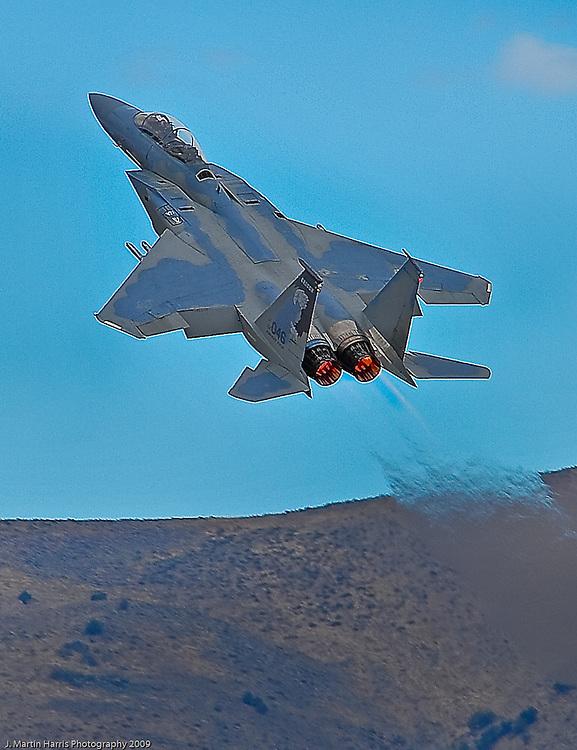 An F-15 Strike Eagle going ballistic