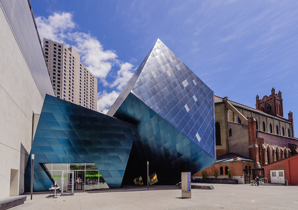 Contemporary Jewish Museum,  Daniel Libeskind designed square foot museum, extends the 1907 Jesse Street Power Substation, originally designed by Willis Polk,  San Francisco, California