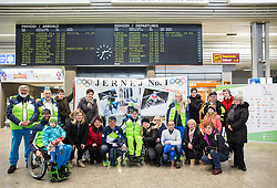 Jernej Slivnik with his supporters prior to the departure of Slovenian Paralympic team for Pyeongchang 2018 Winter Paralympics, on March 3, 2018 in Letalisce Jozeta Pucnika, Brnik, Slovenia. Photo by Vid Ponikvar / Sportida