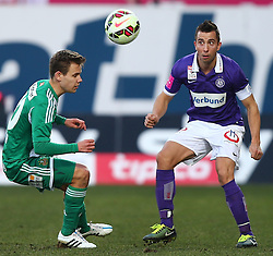 08.03.2015, Generali Arena, Wien, AUT, 1. FBL, FK Austria Wien vs SK Rapid Wien, 24. Runde, im Bild Louis Schaub (SK Rapid Wien) und Markus Suttner (FK Austria Wien) // during Austrian Football Bundesliga Match, 24th Round, between FK Austria Vienna and SK Rapid Wien at the Generali Arena, Vienna, Austria on 2015/03/08. EXPA Pictures © 2015, PhotoCredit: EXPA/ Thomas Haumer