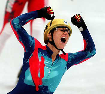 24 Feb94...TURNER WINS GOLD IN SHORT TRACK ....American Cathy Turner celebrates after winning the gold medal in the 500 meter ladies short track competition in Hamar, thursday night.