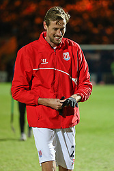 Stoke City's Peter Crouch warms up - Photo mandatory by-line: Matt McNulty/JMP - Mobile: 07966 386802 - 26/01/2015 - SPORT - Football - Rochdale - Spotland Stadium - Rochdale v Stoke City - FA Cup Fourth Round