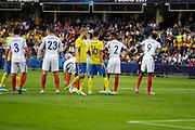 KIELCE, POLEN 2017-06-16<br /> Lagen placerar sig f&ouml;r frispark under UEFA U21 matchen mellan Sverige och England p&aring; Arena Kielce den 16 juni, 2017.<br /> Foto: Nils Petter Nilsson/Ombrello<br /> Fri anv&auml;ndning f&ouml;r kunder som k&ouml;pt U21-paketet.<br /> Annars Betalbild.<br /> ***BETALBILD***