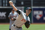 May 29, 2014; Oakland, CA, USA; Detroit Tigers starting pitcher Rick Porcello (21) delivers a pitch against the Detroit Tigers during the first inning at O.co Coliseum.