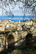 Panorama of Kerkyra, Corfu Town with Old Fort, The Paleo Frourio in Corfu, , Greece