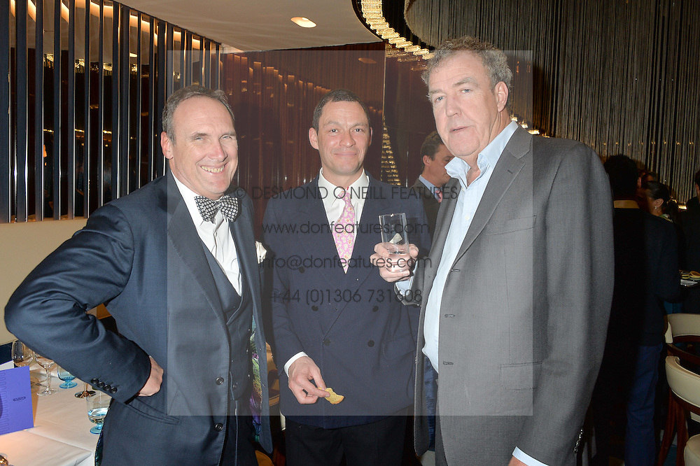 Left to right, AA GILL, DOMINIC WEST and JEREMY CLARKSON at a dinner hosted by AA Gill & Nicola Formby in support of the Borne charity held at Rivea at the Bulgari Hotel, Knightsbridge, London on 3rd February 2015.