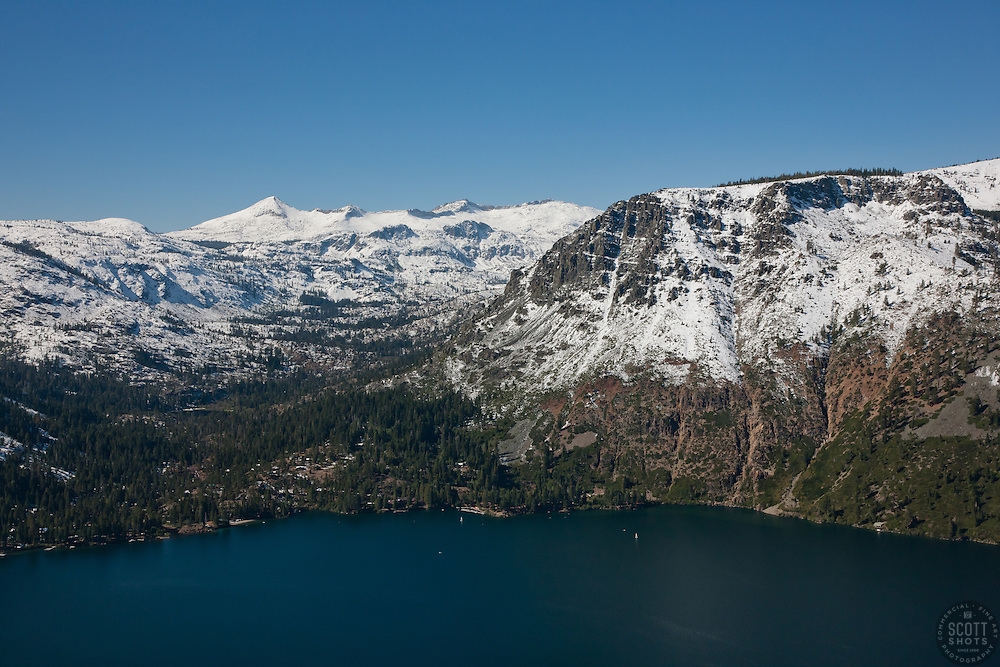 """""""Fallen Leaf Lake Aerial 2"""" - Photograph of Fallen Leaf Lake shot from an amphibious seaplane with the door removed."""