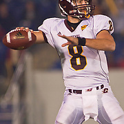 Central Michigan QB (#8) Ryan RADCLIFF passing for a touchdown on a brisk Saturday afternoon at Marine Corps Memorial Stadium in Annapolis Maryland...Navy improves to 7-3, Navy will return home November 20 to face Arkansas State.
